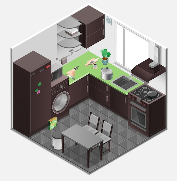 Kitchen interior isometric composition Free Vector
