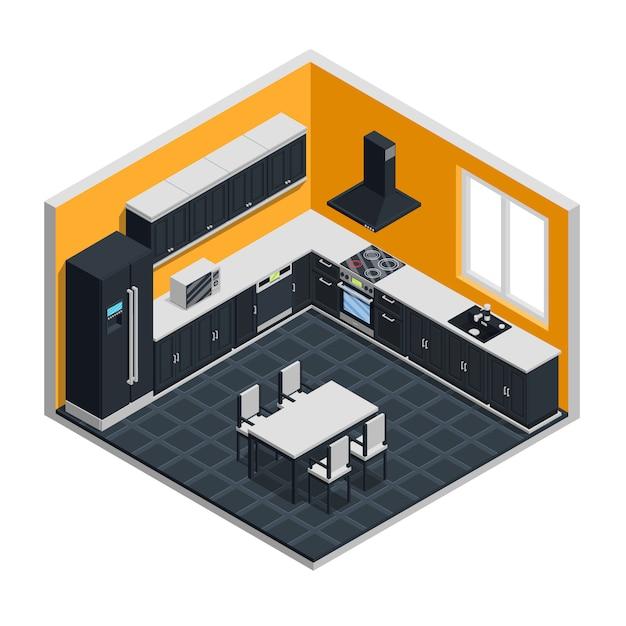 Kitchen interior isometric concept Free Vector