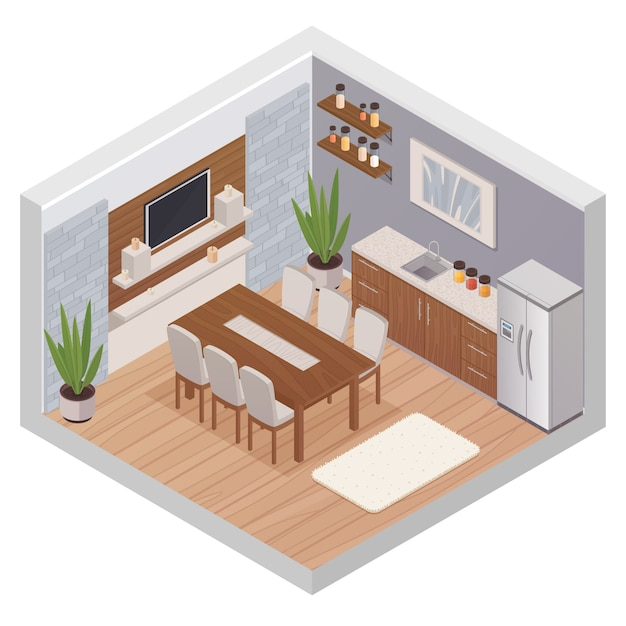 Kitchen interior isometric design concept with modern furniture tv set and dining table for six pers Free Vector