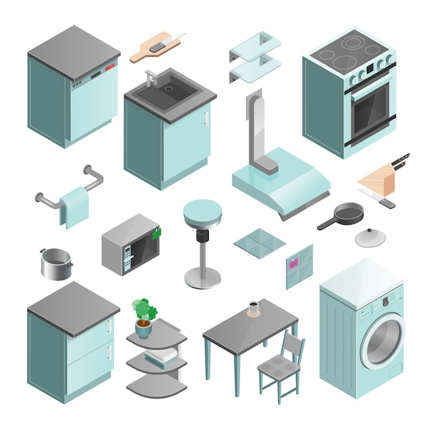 Kitchen interior isometric icons set Free Vector