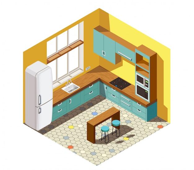 Kitchen interior isometric scene Free Vector
