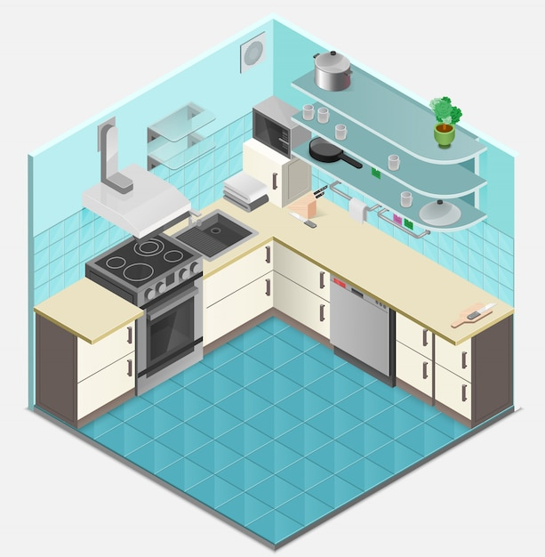 Kitchen interior isometric template Free Vector