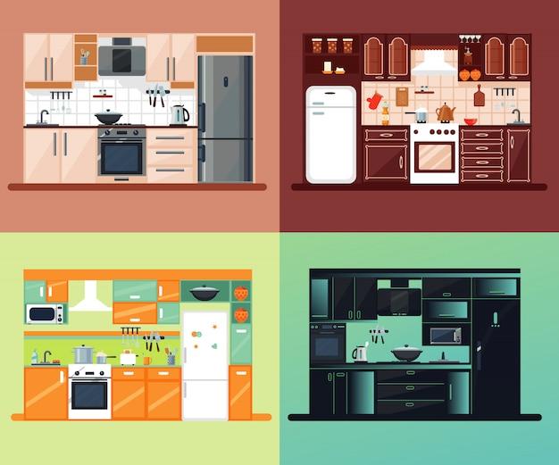 Kitchen interior square composition Free Vector