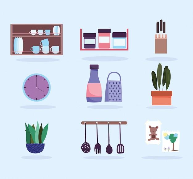 Кухонная утварь посуда продукты иконы и растения иконы Premium векторы