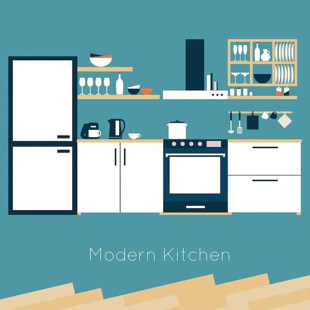 Kitchen interior vector illustration Premium Vector