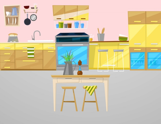 Kitchen interior with furniture, utensils, food and devices illustration. Premium Vector