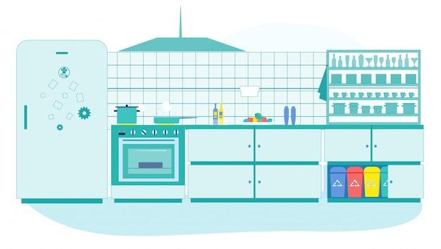 Kitchen interior with litter bins different trash Premium Vector