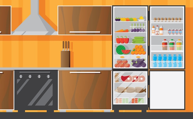 Kitchen interior with open frizer flat Free Vector