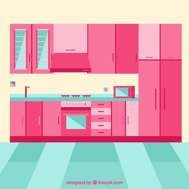 Kitchen Interior With Pink Furniture Vector Free Download