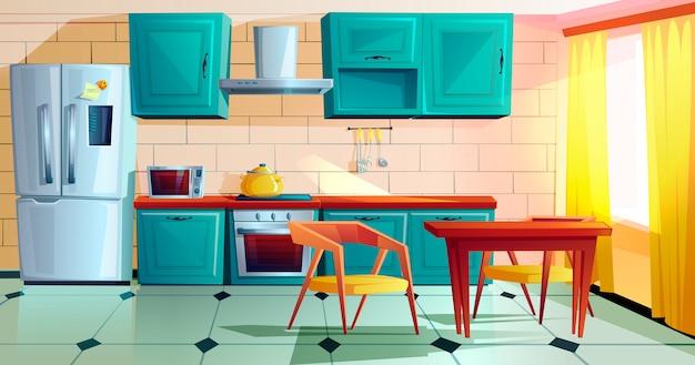 Kitchen interior witn wooden furniture cartoon Free Vector
