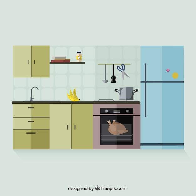 Kitchen Interior Vector Free Download