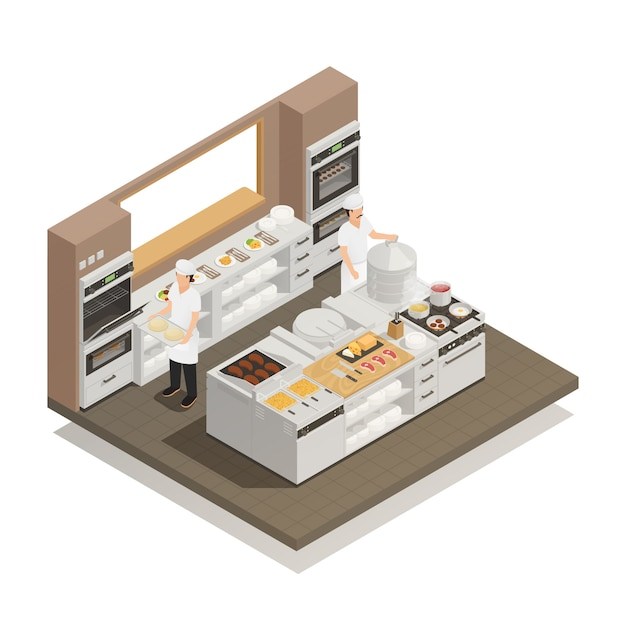 Composizione isometrica in cucina Vettore gratuito