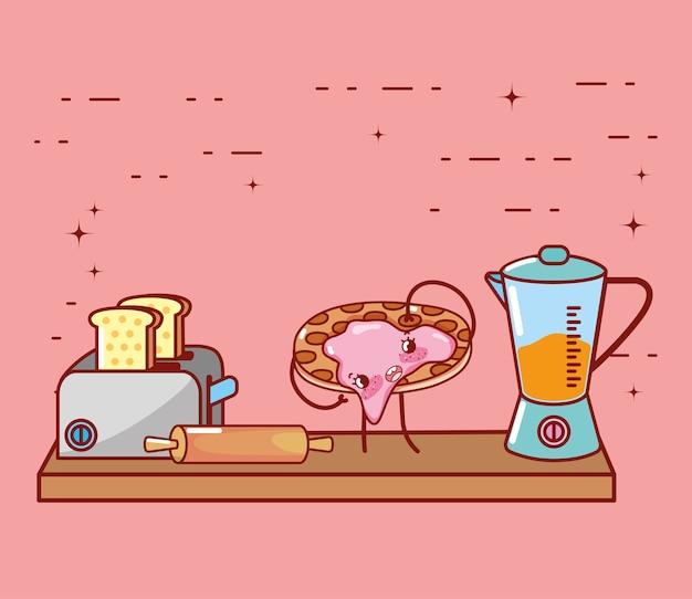 Кухонные принадлежности мультфильм каваи Premium векторы