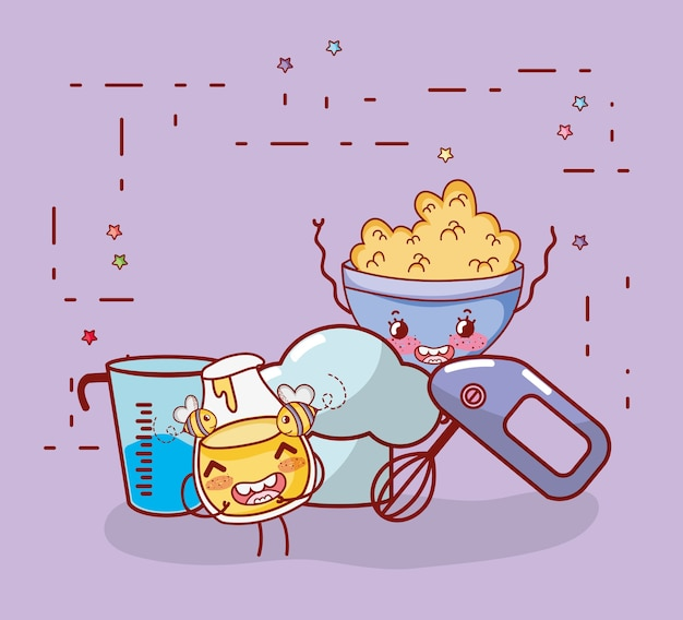 Kitchen Items Cartoon Kawaii Cartoon Premium Vector