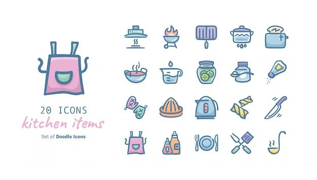 Kitchen items doodle icon collection Premium Vector