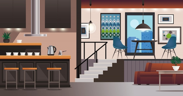 Kitchen living room interior design Free Vector