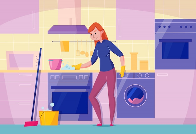 Kitchen maintenance service flat composition with woman cleaning stove top with sponge stylish dishwasher oven  illustration Free Vector