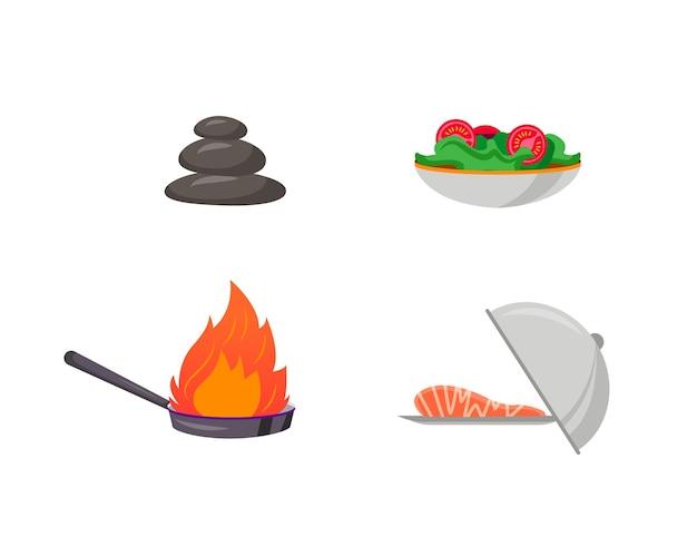 キッチン準備フラットカラーオブジェクトセット。鍋に火をつけます。プレート上の魚のステーキ。サラダ料理。カフェ料理孤立漫画 Premiumベクター