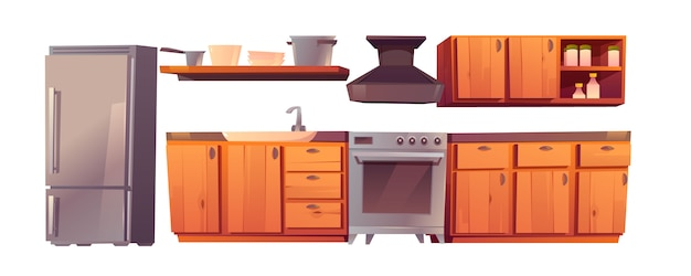 Kitchen restaurant appliances and furniture set. Free Vector