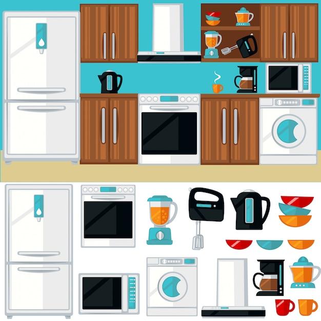 Kitchen room interior with furniture Premium Vector