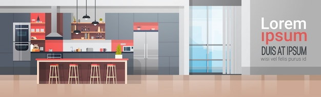 Kitchen room interior with modern furniture counter and appliances horizontal banner Premium Vector
