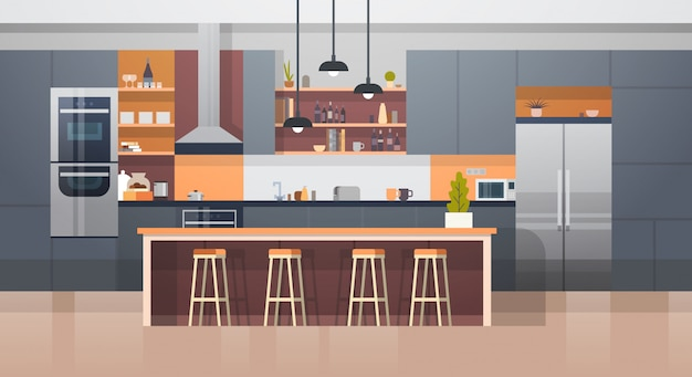 Kitchen room interior with modern furniture counter and appliances Premium Vector