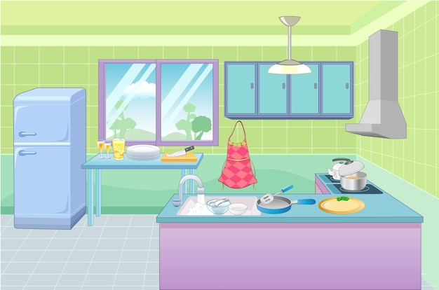 Kitchen room Premium Vector