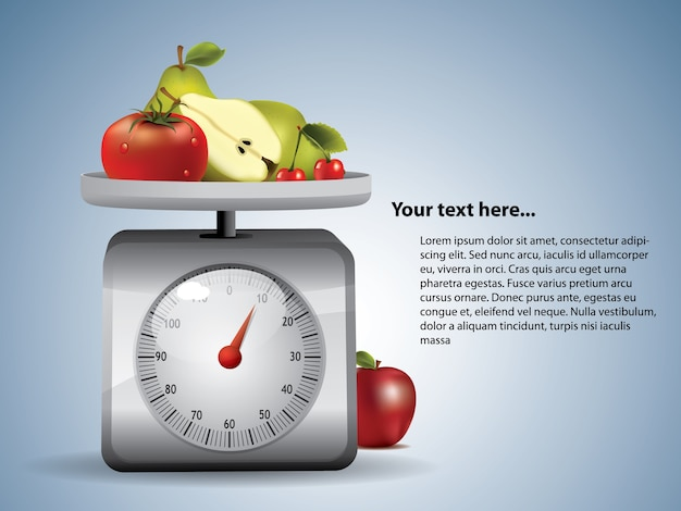 Kitchen scale with fruits Premium Vector