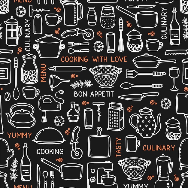 Kitchen seamless background in doodle style on black. Premium Vector