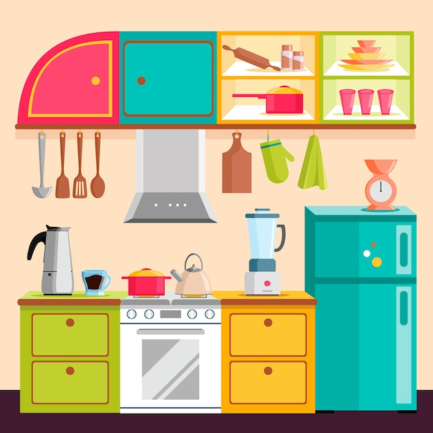 Kitchen Set Interior Vector Illustration Vector