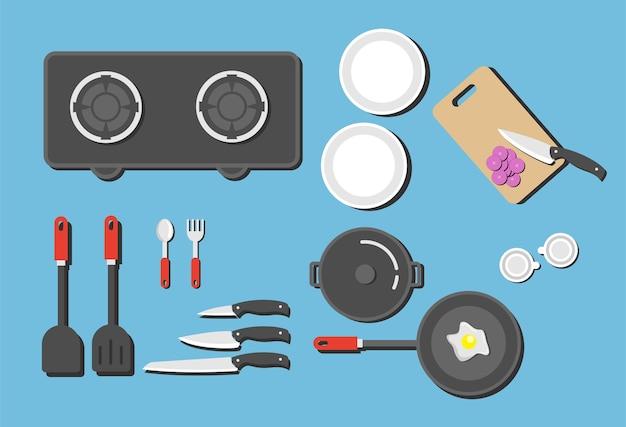 Kitchen set shelf with kitchenware and utensil, vector flat illustration. Premium Vector