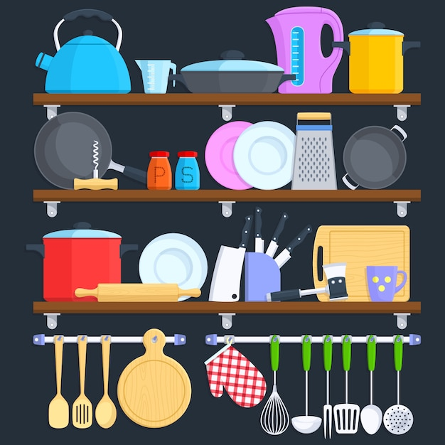 Kitchen shelves with cookware and cooking equipment flat vector concept. Premium Vector