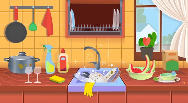 Kitchen sink with dirty dishes Premium Vector