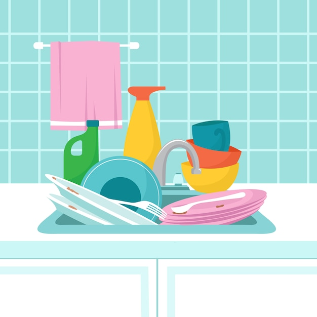 Kitchen sink with dirty plates. pile of dirty dishes, glasses and wash sponge. illustration Premium Vector