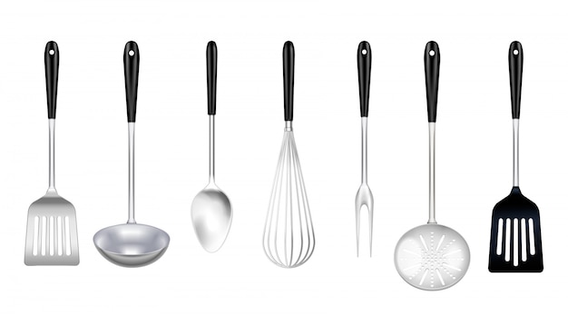 Kitchen stainless steel tools realistic set with cooking fork slotted turner skimmer ladle whisk isolated Free Vector