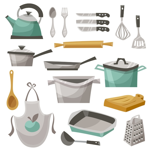Kitchen stuff icons set Free Vector