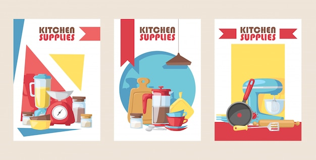 Kitchen supply store banner cooking utensils kitchenware appliance shop advertisement card Premium Vector