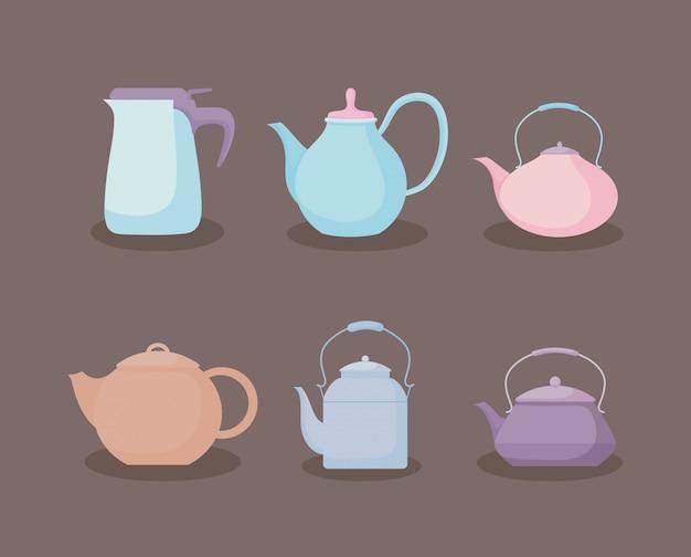 Kitchen teapots pastel icon set Premium Vector