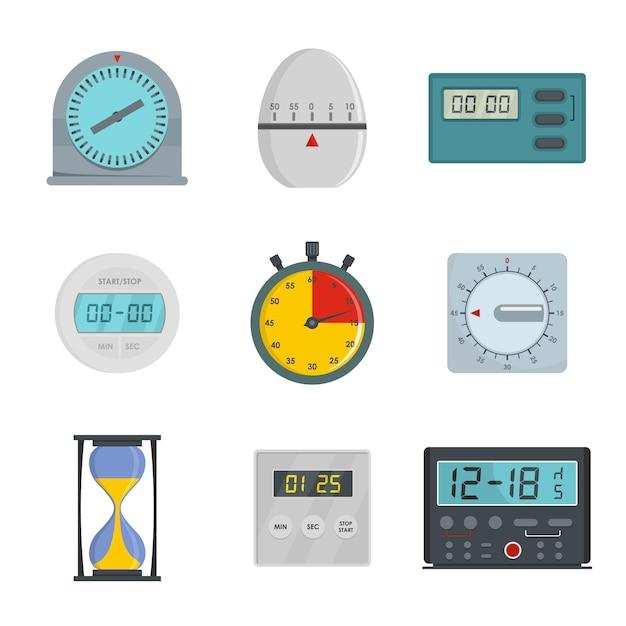 Kitchen timer icons set Premium Vector