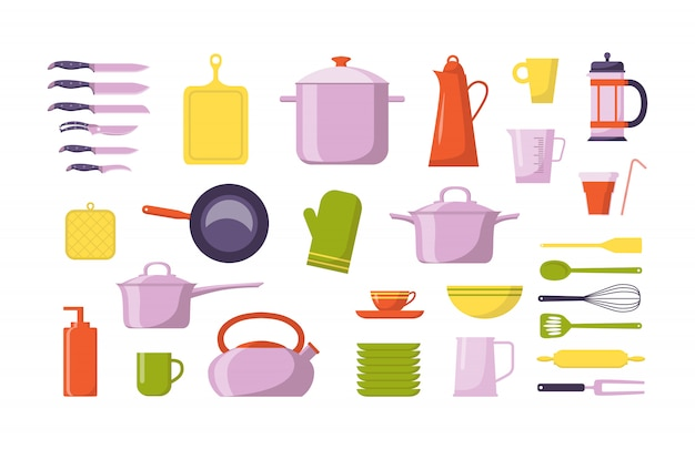 Kitchen tool flat collection. set with utensils for cooking, isolated Premium Vector