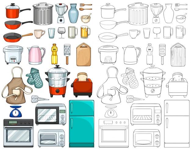 Иллюстрация кухонных инструментов и оборудования Бесплатные векторы