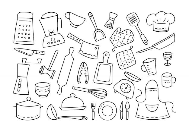 Кухонные инструменты и посуда. готовить. нарисованный от руки. Premium векторы