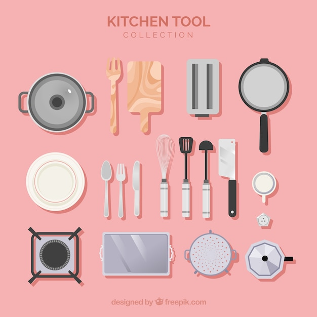 Kitchen tools collection in flat style Free Vector