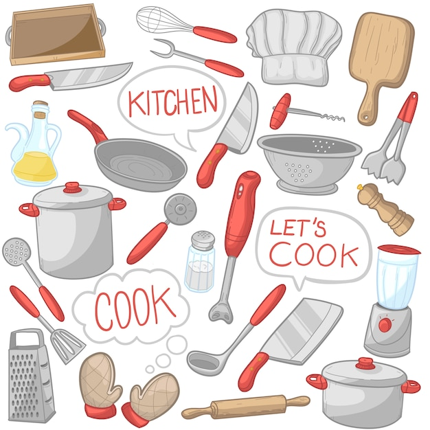 Kitchen tools cooking utensils clip art color icons Premium Vector