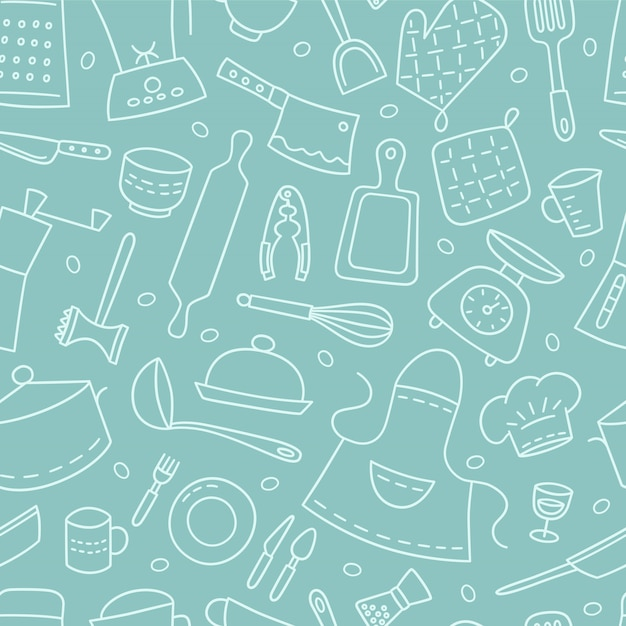 Kitchen tools and tableware. cook. seamless pattern. hand drawn illustration Premium Vector