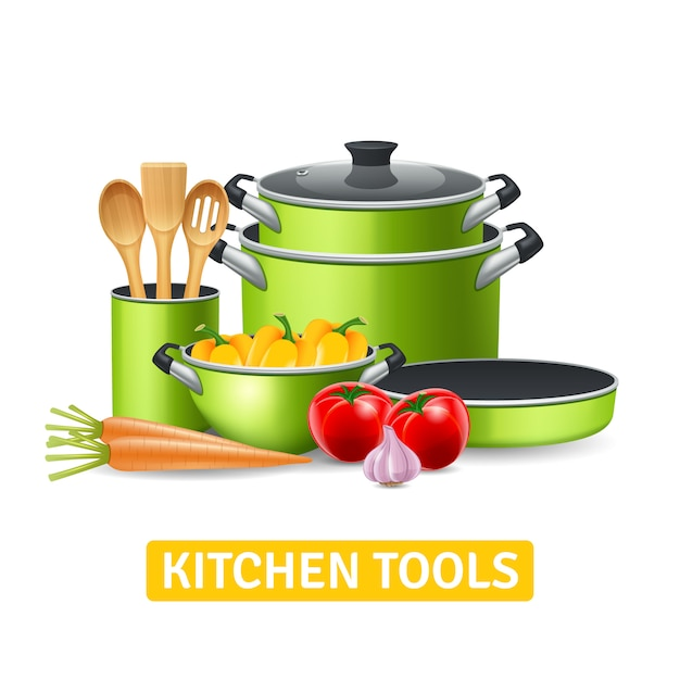 Kitchen tools with vegetables Free Vector