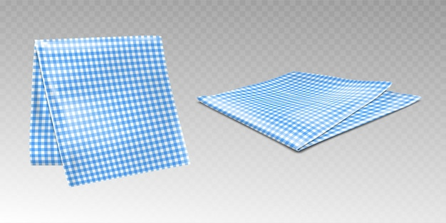 Kitchen towel or tablecloth with chequered blue and white pattern Free Vector