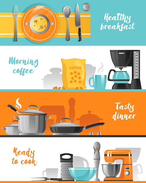 Kitchen utensil horizontal banners collection Free Vector