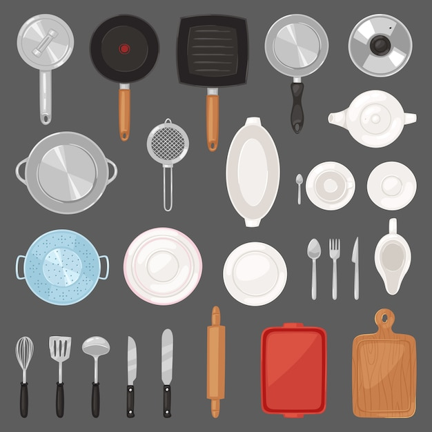 Kitchen utensil  kitchenware or cookware for cooking food set of pan cutlery and plate illustration of dishware and frying-pan or pot  on background Premium Vector