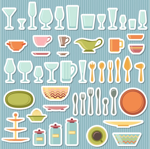 Kitchen utensils and cookware icons set Premium Vector